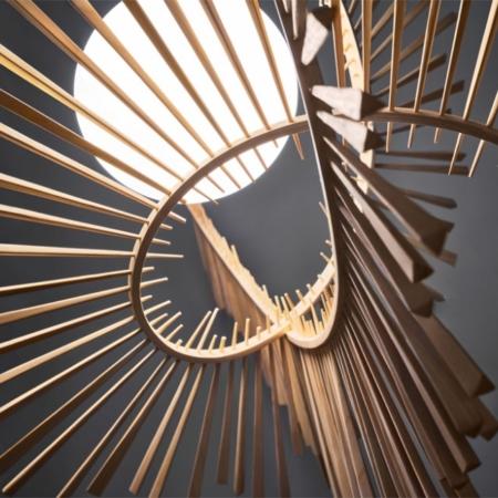 Nowoczesna lampa sufitowa z drewna Aimei Arturo Álvarez
