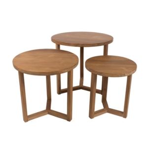 Okrągłe stoliki zewnętrzne z drewna Remix
