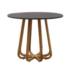 Okrągły stół zewnętrzny z kamiennym blatem Emily