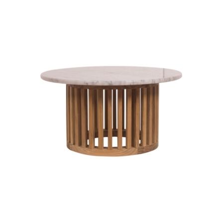 Okrągły stolik kawowy zewnętrzny z marmurowym blatem Code