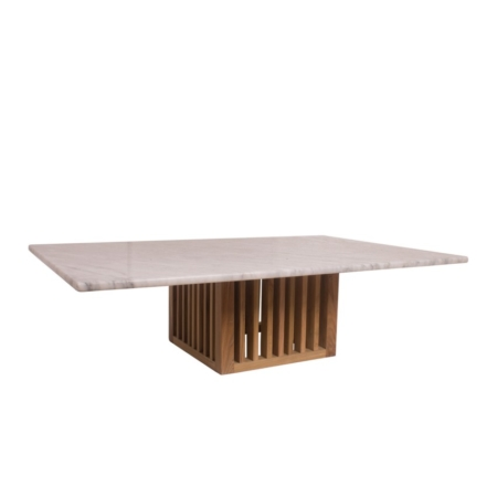 Prostokątny stolik kawowy z marmurowym blatem Code