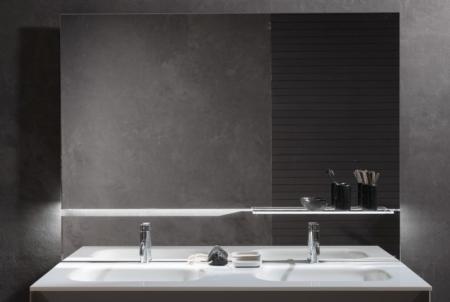 Dekoracyjne lustro łazienkowe z półką Riga