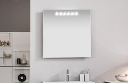 Kwadratowe lustro łazienkowe z podświetleniem Stock