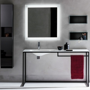 Minimalistyczna konsola z umywalką Frame