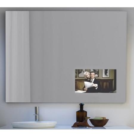 Ozdobne lustro łazienkowe wyświetlaczem TV Spy
