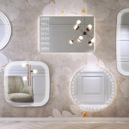 Ozdobne lustro łazienkowe z podświetleniem Ri-tratti