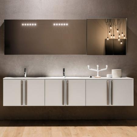 Podwieszane szafki łazienkowe z umywalką Riga 18