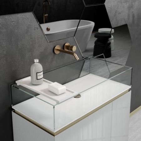 Szafki łazienkowe ze szklaną umywalką Plisse