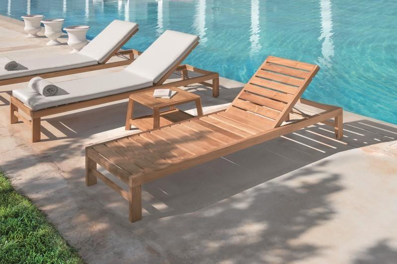 Meble basenowe - Drewniany leżak ogrodowy Sand