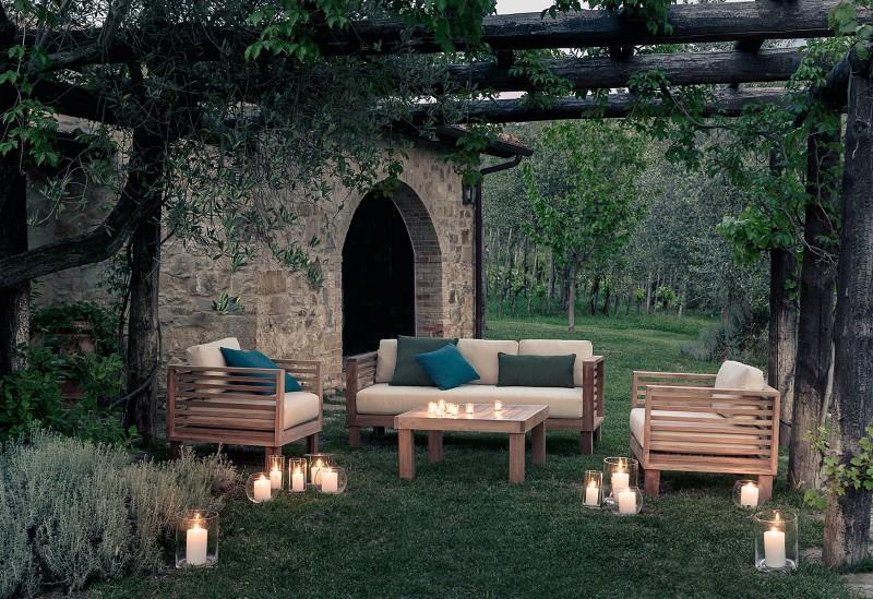 Nowoczesne meble ogrodowe z drewna styl śródziemnomorski