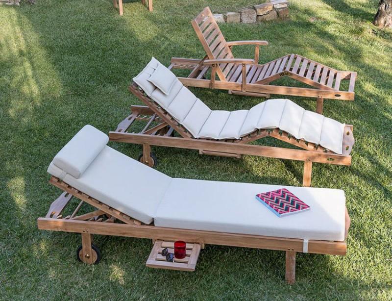 Nowoczesne meble ogrodowe z drewna leżaki zewnętrzne