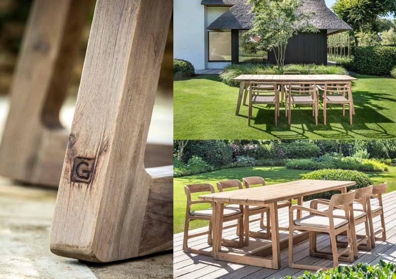 Nowoczesne meble ogrodowe z drewna stoły i krzesła