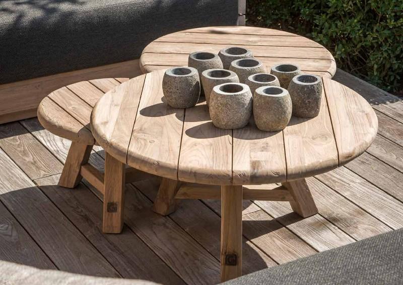 Nowoczesne meble ogrodowe z drewna stoliki kawowe