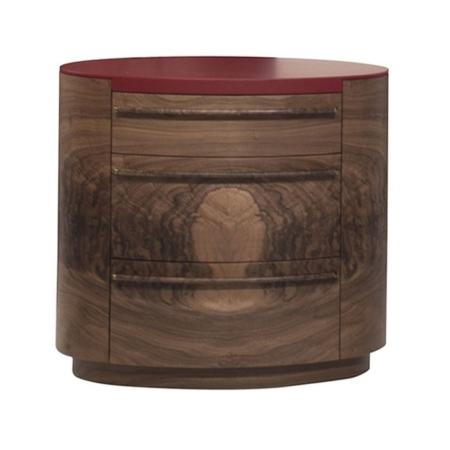 Drewniana szafka nocna z czerwonym blatem Versa Plus