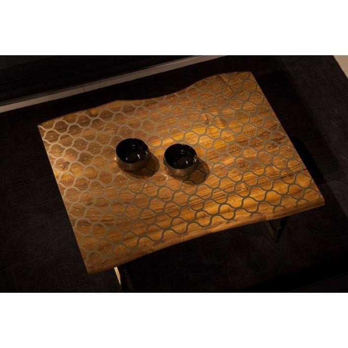 Drewniany stolik kawowy z nieregularnym blatem Tulip Coffee