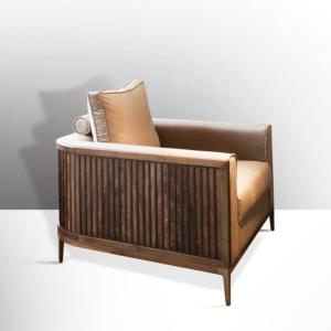 Fotel wykończony drewnem Manhattan