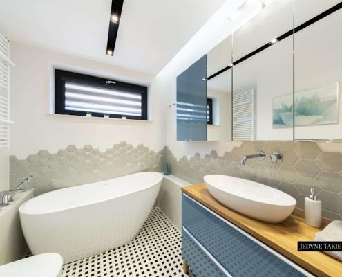 Heksagonane płytki w nowoczesnej łazience