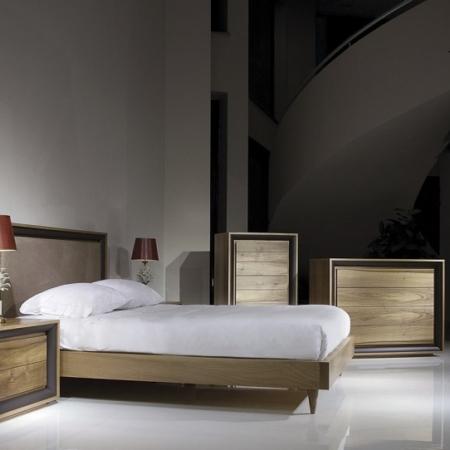 Nowoczesne łóżko z dekoracyjnym wezgłowiem Oslo