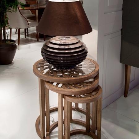 Okrągłe stoliki pomocnicze z dekoracyjnym blatem Huricane