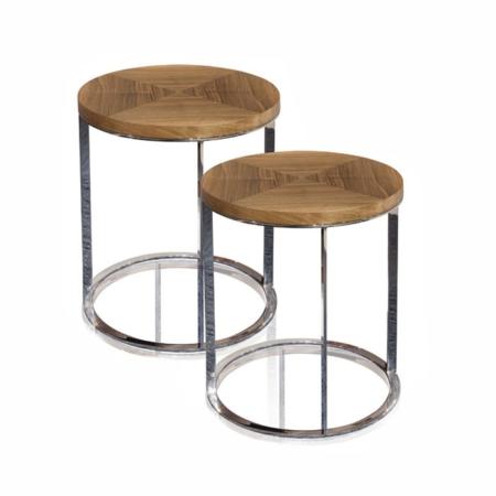 Okrągłe stoliki pomocnicze z drewna i metalu Tokyo