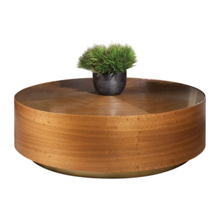 Okrągły stolik kawowy wykończony drewnem Drum