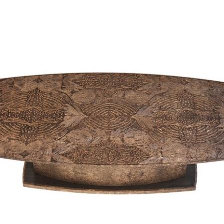 Owalny stół z dekoracyjnym blatem motyw roślinny Tropicana
