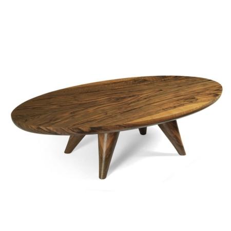 Owalny stolik kawowy z drewna Tombo