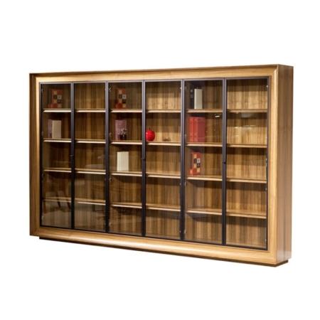 Przeszklona biblioteczka ścienna w drewnie Metropolitan