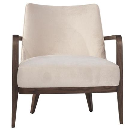 Tapicerowany fotel z ozdobnym oparciem Fez