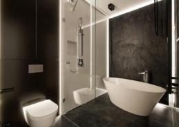 Czarno-biała łazienka w industrialnym stylu