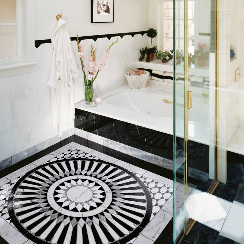 Kamienne płytki podłogowe w łazience