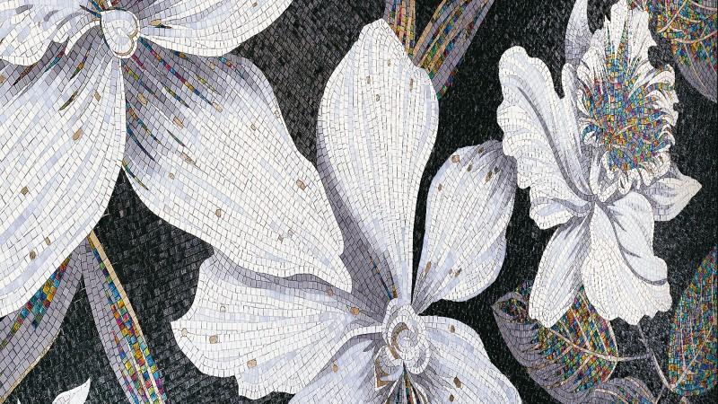 Mozaika w łazience Kwiaty