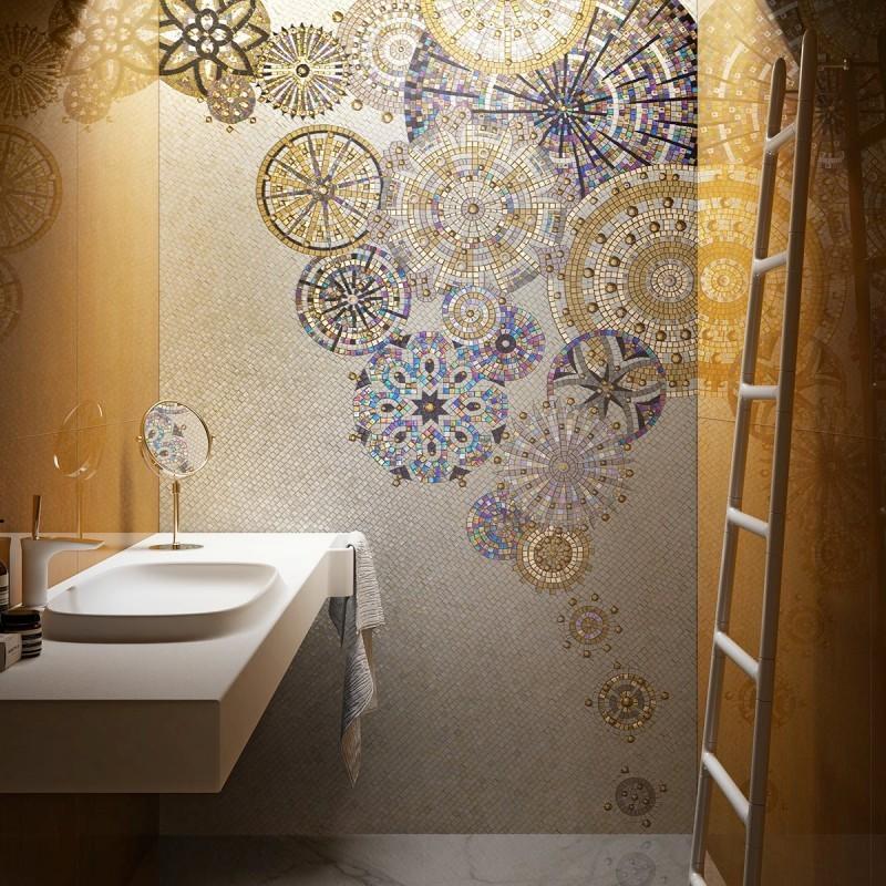 Oryginalna mozaika ścienna w łazience
