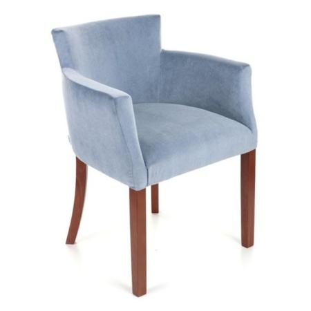 Owalny fotel tapicerowany z podłokietnikami