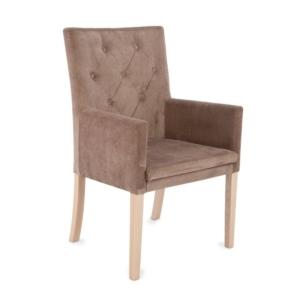 Tapicerowany fotel z podłokietnikami i pikowanym oparciem