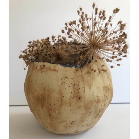 Beżowy wazon dekoracyjny z ceramiki rękodzieło Wabi Sabi
