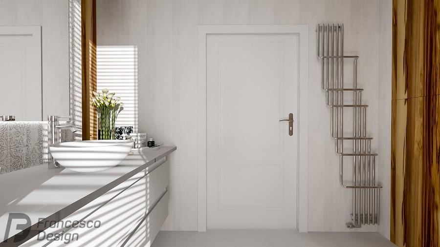 Biała łazienka z drewnianymi akcentami