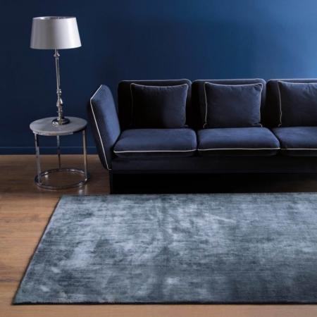 Ciemnoniebieski dywan prostokątny ręcznie tkany Linen