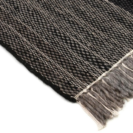 Czarno-szary dywan w kratę ręcznie tkany Norton