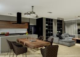 Nowoczesny apartament łączący kuchnię i salon