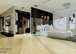 Otwarta sypialnia w lofcie