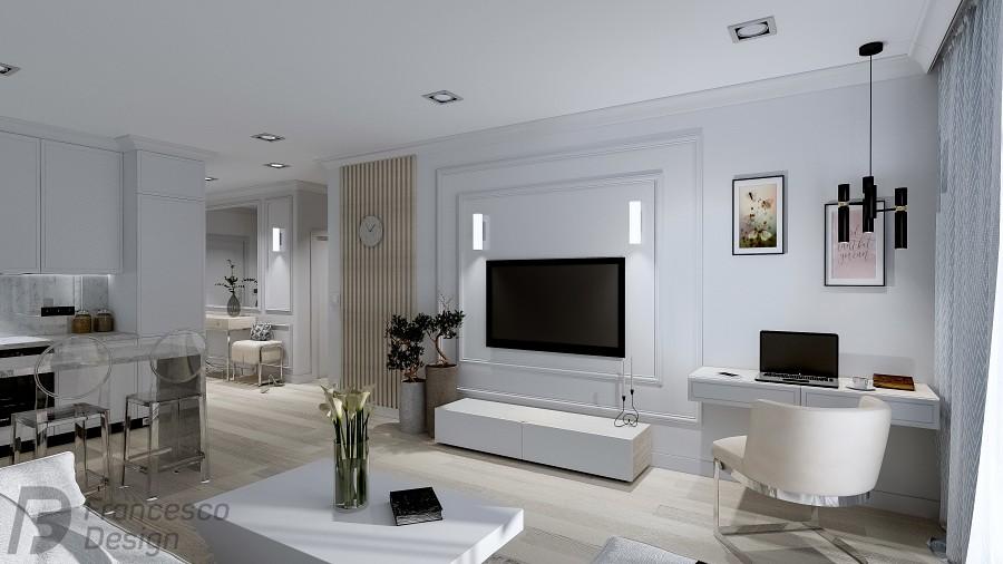 Projekt jasnego apartamentu w bieli