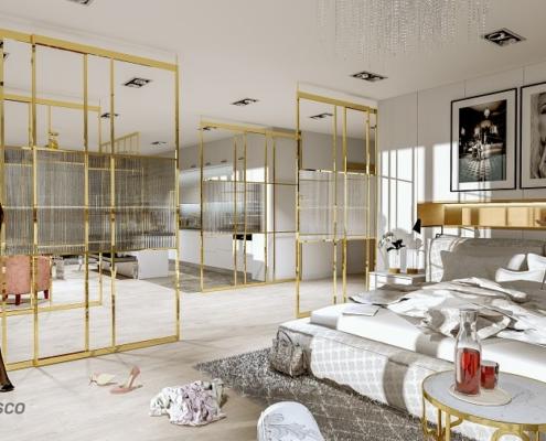 Przeszklona sypialnia w nowoczesnym lofcie