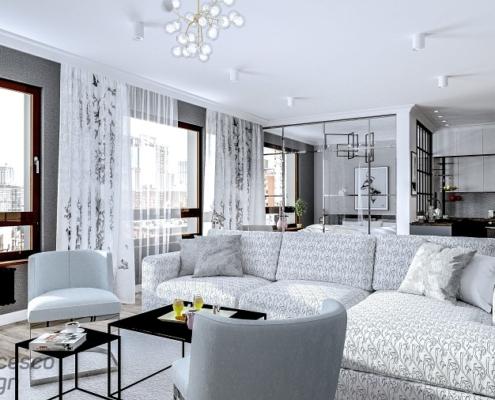 Szary apartament z przeszkloną sypialnią