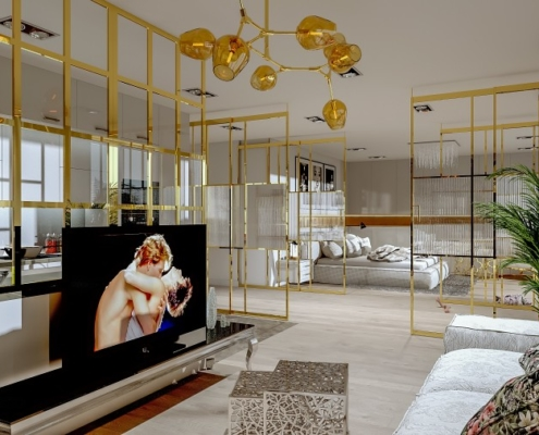 Złoto w nowoczesnym apartamencie - loft
