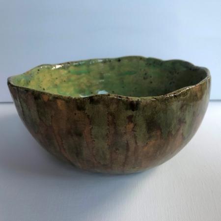 Zielono-brązowa miska Wabi Sabi ceramika