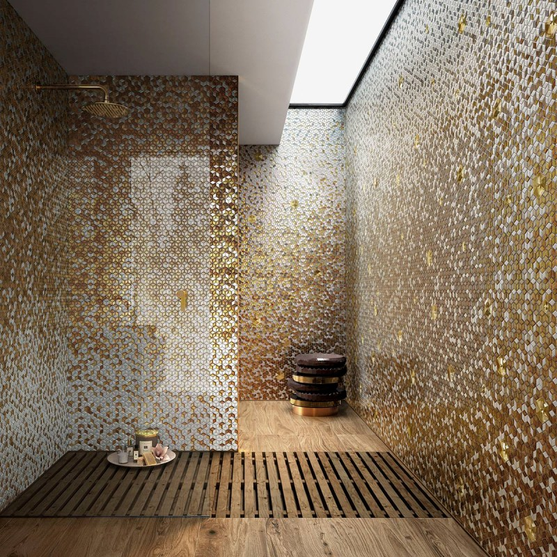 Artystyczna mozaika we wnętrzach sauna