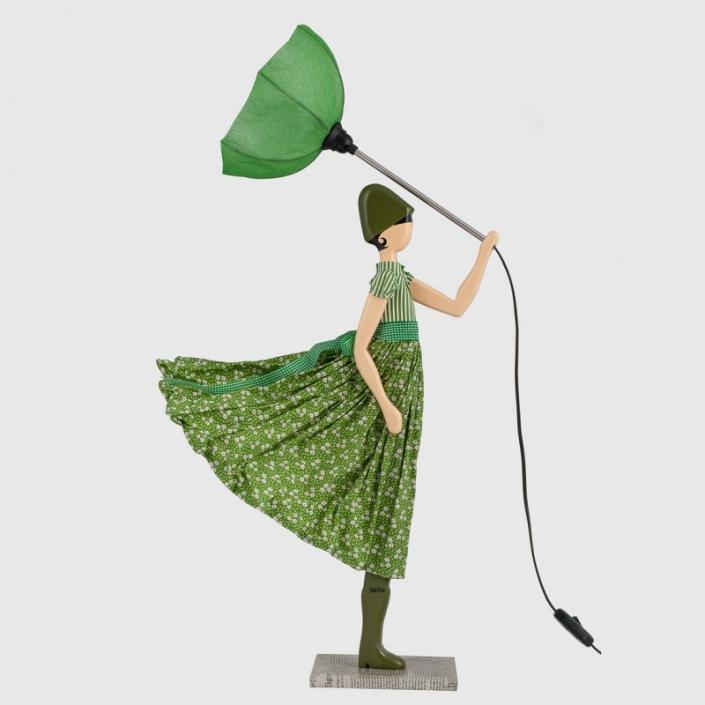 Designerska lampa stołowa kobieta w zieleni Aloe