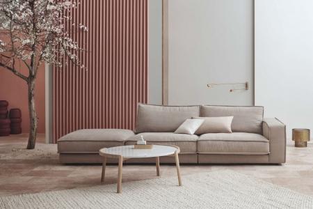 Designerski stolik kawowy drewno i marmur Mix 14 Bolia