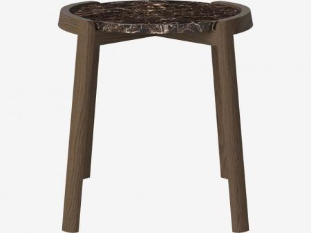 Designerski stolik kawowy drewno i marmur Mix 2 Bolia